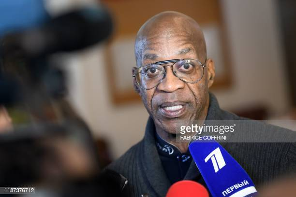 Olympic legend and member of the World Anti-Doping Agency executive committee Edwin Moses speaks to journalist following a meeting of the WADA...