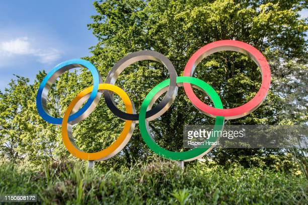 Olympic logo in front of the new Olympic House of International Olympic Committee on June 18, 2019 in Lausanne, Switzerland.