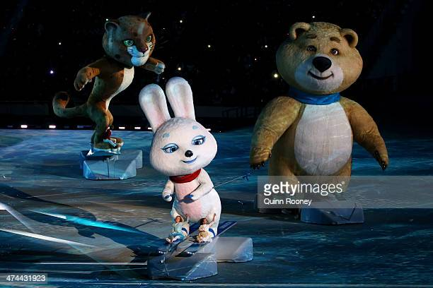 Olympic mascots the Hare, the Leopard and the Polar Bear perform during the 2014 Sochi Winter Olympics Closing Ceremony at Fisht Olympic Stadium on...