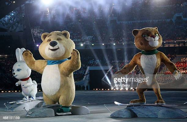 Olympic mascots the Hare the Polar Bear and the Leopard are seen during the Opening Ceremony of the 2014 Winter Olympic Games at the Fisht Olympic...