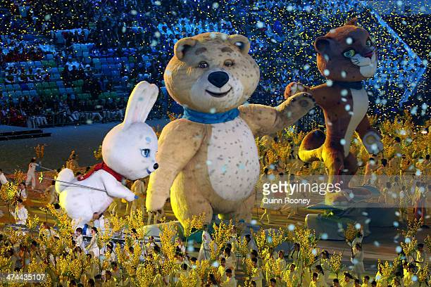 Olympic mascots the Hare the Polar Bear and the Leopard perform during the 2014 Sochi Winter Olympics Closing Ceremony at Fisht Olympic Stadium on...