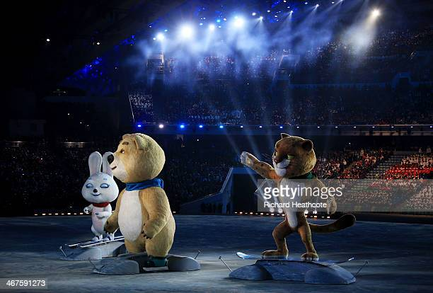 Olympic mascots the Hare, the Polar Bear and the Leopard wave during the Opening Ceremony of the Sochi 2014 Winter Olympics at Fisht Olympic Stadium...