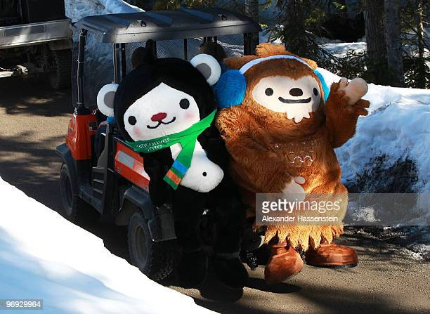 Olympic mascots travel on a buggy prior to the men's biathlon 15 km mass start on day 10 of the 2010 Vancouver Winter Olympics at Whistler Olympic...