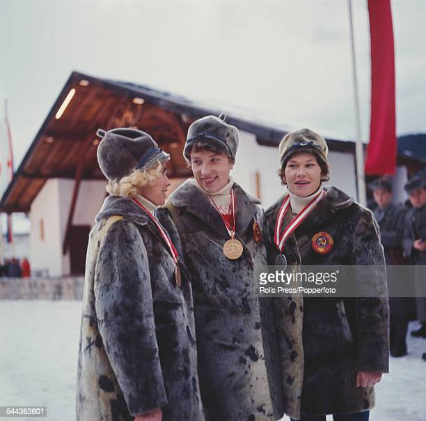 Olympic medal winners of the Women's 10km crosscountry skiing competition pose together with their medals at the IX Olympic Winter Games in Innsbruck...