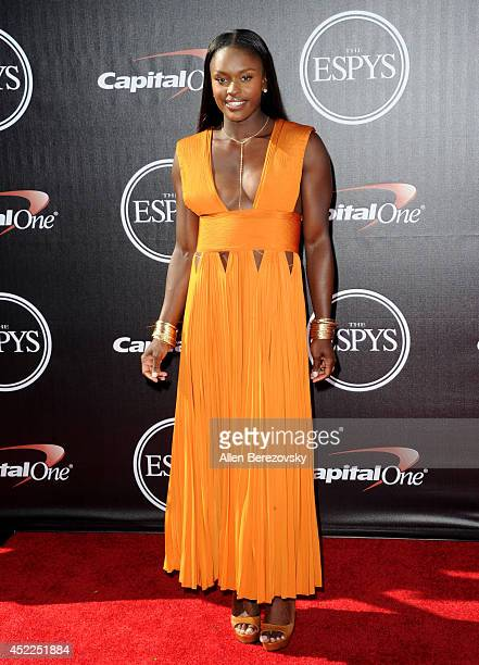 Olympic Medalist Aja Evans attends the 2014 ESPY Awards at Nokia Theatre LA Live on July 16 2014 in Los Angeles California