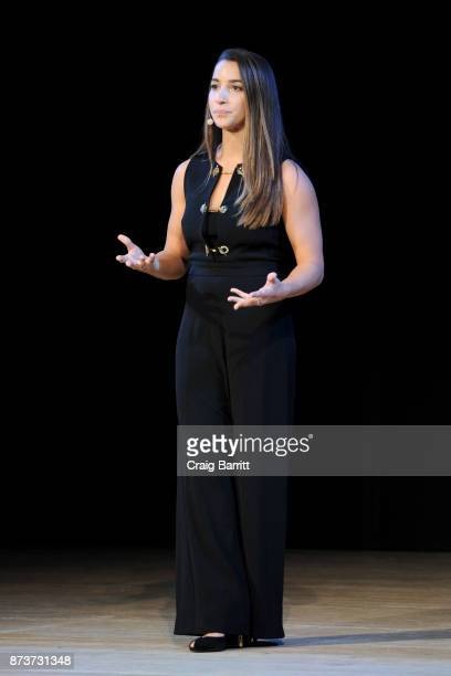 S Olympic Medalist Aly Raisman speaks onstage during Glamour Celebrates 2017 Women Of The Year Live Summit at Brooklyn Museum on November 13 2017 in...