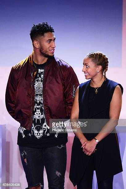Olympic medalist boxer Estelle Mossely and her boyfriend and Olympic medalist boxer Tony Yoka pose at the 9th annual Champions Soiree held at INSEP...