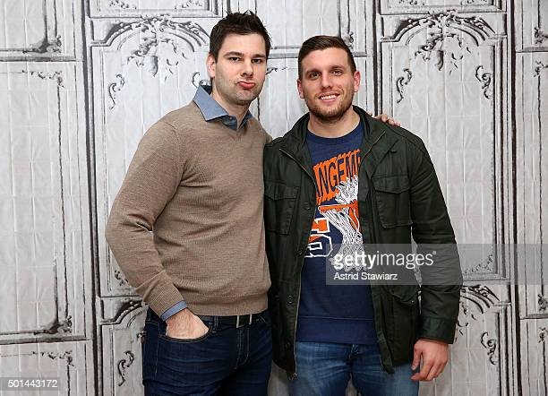 Olympic medalist fencer Tim Morehouse and comedian Chris Distefano attend AOL Build Presents Chris Distefano Benders at AOL Studios on December 15...