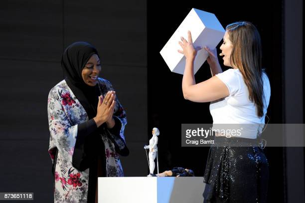 S Olympic Medalist Ibtihaj Muhammad and model/host Ashley Graham reveal the Ibtihaj Muhammad Barbie doll during Glamour Celebrates 2017 Women Of The...