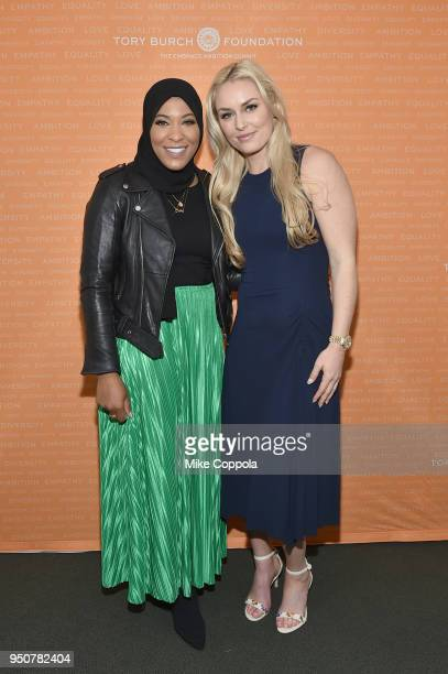 Olympic Medalist Ibtihaj Muhammad and U.S. Olympic Medalist Lindsey Vonn attend The Tory Burch Foundation 2018 Embrace Ambition Summit at Alice Tully...
