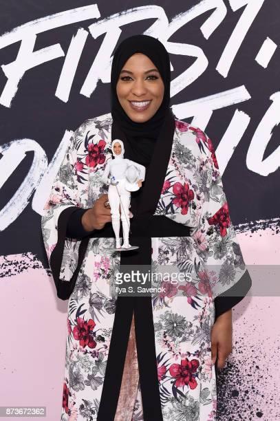 Olympic Medalist Ibtihaj Muhammad poses with the Ibtihaj Muhammad Barbie during Glamour Celebrates 2017 Women Of The Year Live Summit at Brooklyn...