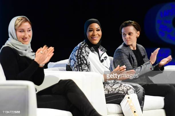 S Olympic Medalist Ibtihaj Muhammad smiles during a panel discussion with Iran U19 Girls National Team head coach Katayoun Khosrowyar and San...