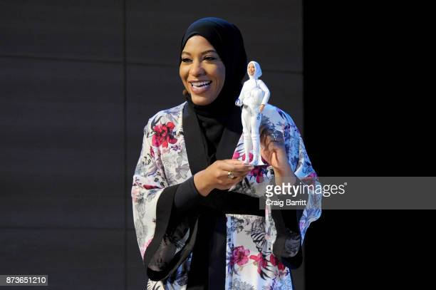 S Olympic Medalist Ibtihaj Muhammad speaks onstage a new Barbie doll in her image during Glamour Celebrates 2017 Women Of The Year Live Summit at...