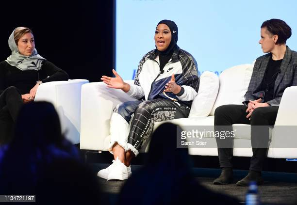 S Olympic Medalist Ibtihaj Muhammad speaks to the audience at a panel discussion with Iran U19 Girls National Team head coach Katayoun Khosrowyar and...