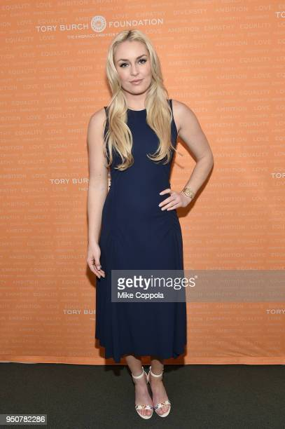 Olympic Medalist Lindsey Vonn attends The Tory Burch Foundation 2018 Embrace Ambition Summit at Alice Tully Hall on April 24, 2018 in New York City.