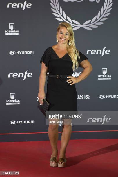 Olympic medalist Lydia Valentin attends the photocall during the Homage to Spanish Olympic Medalists at Museu Nacional d'Art de Catalunya on July 13...