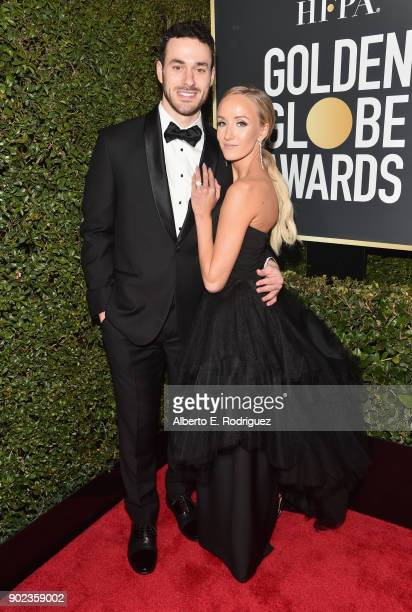 Olympic Medalist Nastia Liukin and Matt Lombardi attend The 75th Annual Golden Globe Awards at The Beverly Hilton Hotel on January 7 2018 in Beverly...