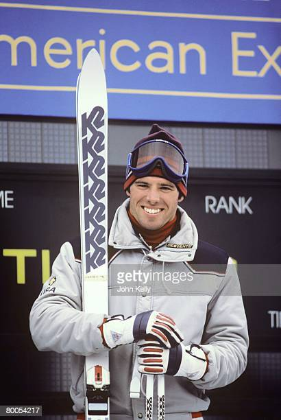 Olympic medalist Phil Mahre stands atop the podium after a World Cup race on Vail Mountain in 1984.