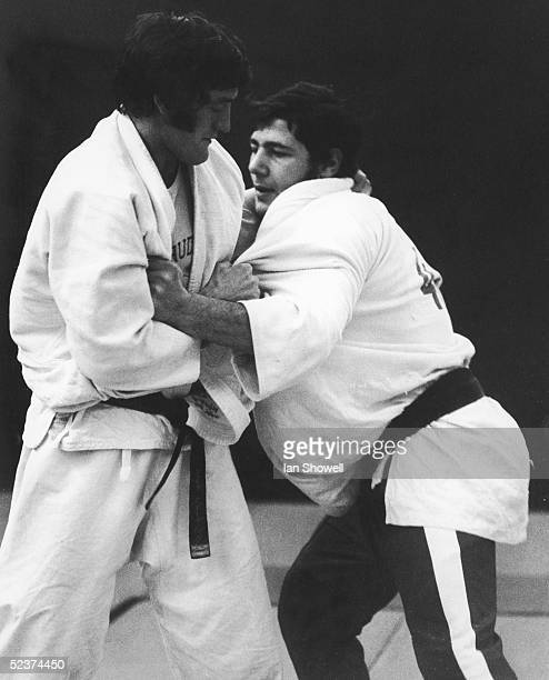 Olympic medalists Dave Starbrook and Angelo Parisi warm up before the start of the British Judo Association Open Championships at Crystal Palace,...
