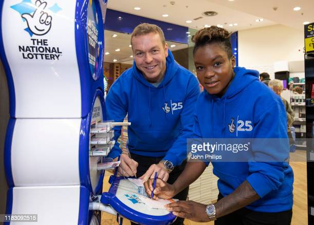 Olympic medallists including Sir Chris Hoy and Nicola Adams purchase lottery tickets to celebrate The National Lottery's 25th Birthday and its...