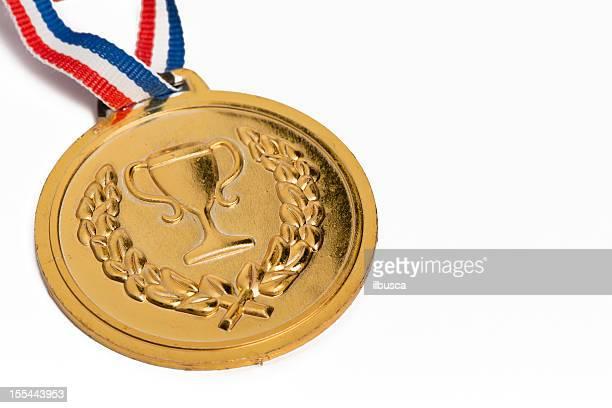 Médailles olympiques isolé sur blanc: Gold
