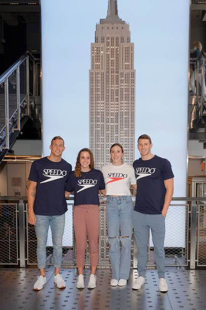 NY: Olympic Medal-Winning Swimmers Caeleb Dressel, Abby Weitzeil, Ryan Murphy And Regan Smith Visit The Empire State Building Upon Returning From Tokyo