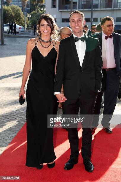 Olympic middle distance runner Nick Willis and wife Sierra Boucher arrive at the 54th Halberg Awards at Vector Arena on February 9 2017 in Auckland...