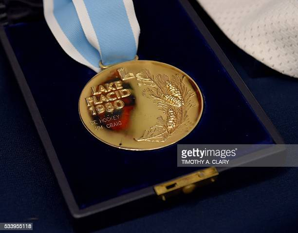 US Olympic 'Miracle on Ice' gold medal from the 1980 US Winter Olympic games belonging to goalie Jim Craig is seen May 24 2016 In New York Craig part...