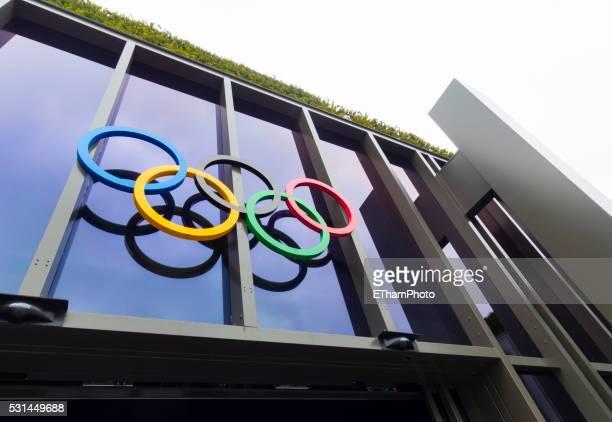 olympic museum at lausanne, switzerland - olympische spelen stockfoto's en -beelden