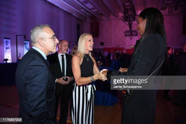 S Olympic Paralympic Hall of Fame inductees Dara Torres and Lisa Leslie talk during the Class of 2019 Induction Ceremony on November 1 2019 in...