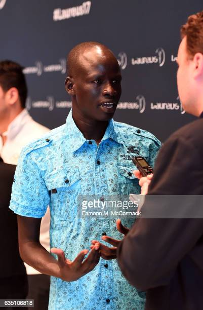 Olympic Refugee Team member Yiech Pur Biel speaks at the Laureus Sport for Good Award Winner Photocall at the Sea Club,Le Meridien on February 13,...