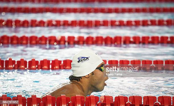 Olympic refugee team swimmer Rami Anis trains at the Olympic Aquatics Stadium ahead of the Rio 2016 Olympic Games on July 28, 2016 in Rio de Janeiro,...