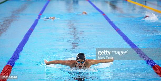 Olympic refugee team swimmer Yusra Mardini trains at the Olympic Aquatics Stadium ahead of the Rio 2016 Olympic Games on July 28, 2016 in Rio de...