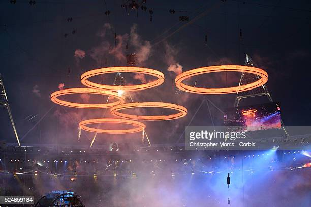 Olympic Rings are lit during Opening Ceremonies for The 2012 London Olympic Games at Olympic Stadium, London.