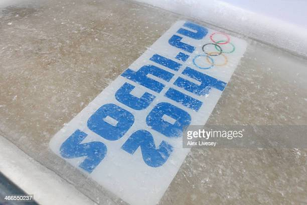 Olympic rings are seen at the Men's Luge start position at Sanki Sliding Centre ahead of the Sochi 2014 Winter Olympics on February 2, 2014 in Sochi,...