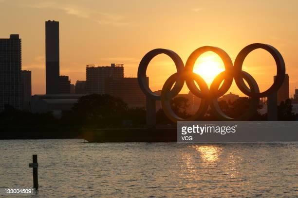 Olympic rings are seen at the Tokyo Bay ahead of the Tokyo 2020 Olympic Games on July 22, 2021 in Tokyo, Japan.
