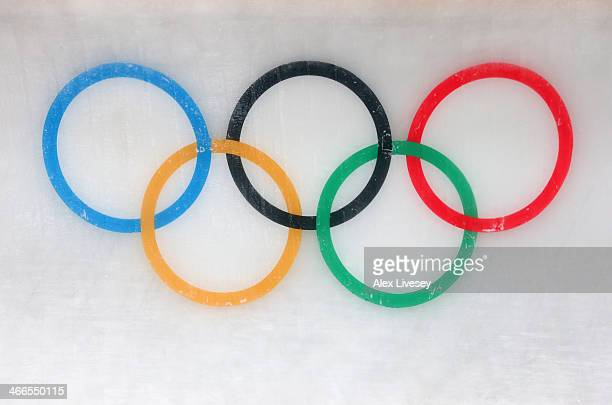 Olympic rings are seen in the ice of the track at Sanki Sliding Centre ahead of the Sochi 2014 Winter Olympics on February 2 2014 in Sochi Russia