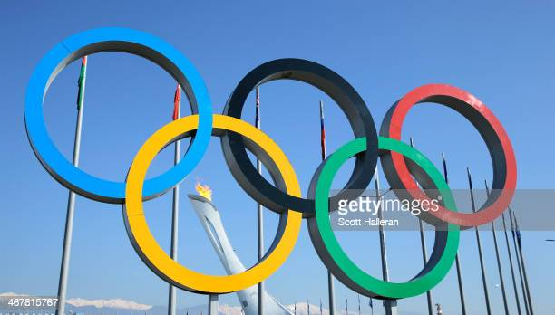 Olympic Rings are seen under the Olympic Cauldron inside Olympic Park during the 2014 Winter Olympic Games on February 8, 2014 in Sochi, Russia.