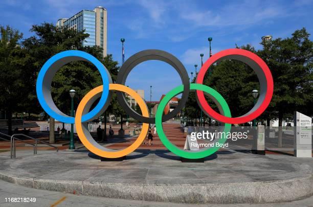 Olympic rings at Centennial Olympic Park in Atlanta, Georgia on July 27, 2019.