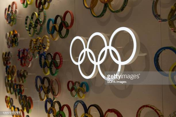 Olympic Rings displayed on a wall inside Japan Olympic Museum. Due to the Covid-19 outbreak, the Olympic Games Tokyo 2020 were postponed for the...