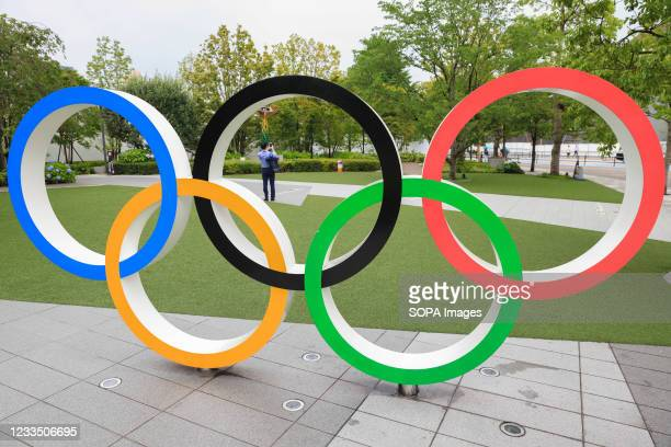 Olympic Rings installation in front of Japan Olympic Museum in Shinjuku. Construction of facilities for the Olympic games is still going on with only...