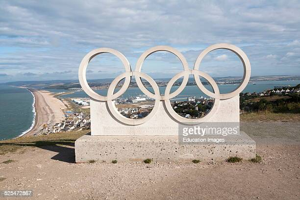 Olympic Rings memorial from London 2012 marking Weymouth and Isle of Portland as venue for sailing events Dorset England