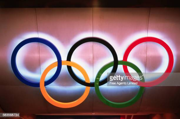 olympic rings - the olympic games stock pictures, royalty-free photos & images