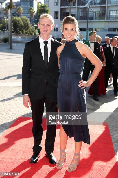 Olympic rower Hamish Bond and his wife Lizzie arrive at the 54th Halberg Awards at Vector Arena on February 9 2017 in Auckland New Zealand