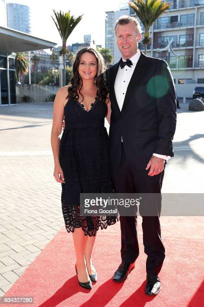 Olympic rower Mahe Drysdale and his wife Juliette arrive at the 54th Halberg Awards at Vector Arena on February 9 2017 in Auckland New Zealand