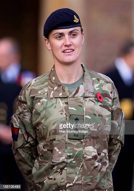 Olympic rowing gold medalist Heather Stanning awaits the arrival of Prince Charles Prince of Wales as he meets London Poppy Day ambassadors and...