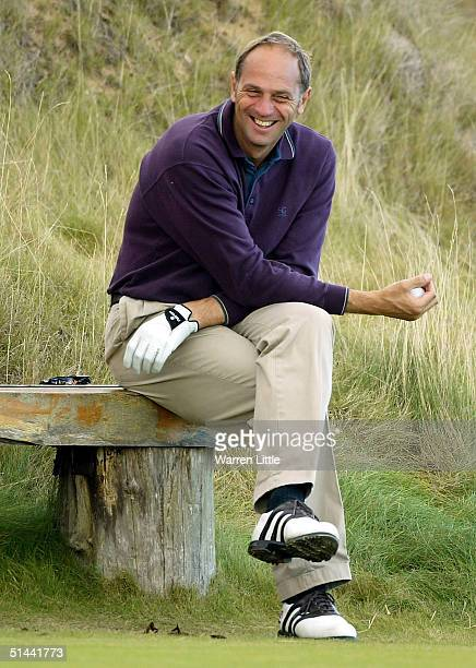 Olympic rowing gold medalist, Sir Steve Redgrave waits to tee off on the sixth hole during the second round of the Dunhill Links pictured at...
