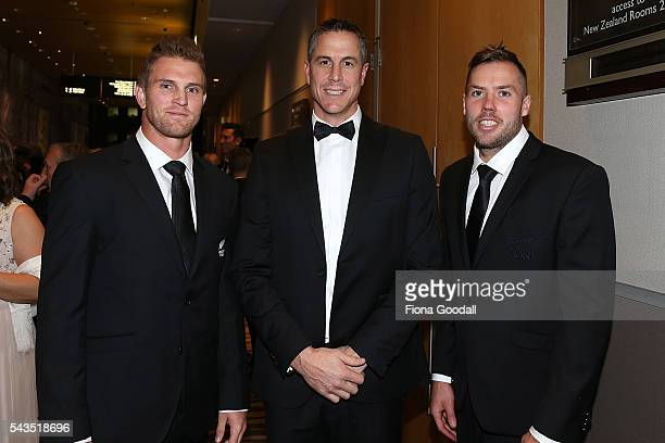 Olympic Rugby Sevens athletes Scott Curry and Tim Mikkelson with Olympic gold medalist Rob Waddell at the Prime Minister's Olympic Gala Dinner at Sky...