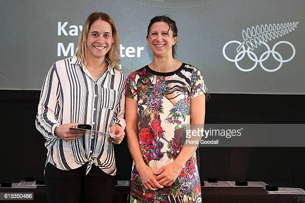 Olympic Rugby Sevens silver medalist Kayla McAlister receives her pin from Chantal Brunner during the New Zealand Olympic Committee New Olympians...