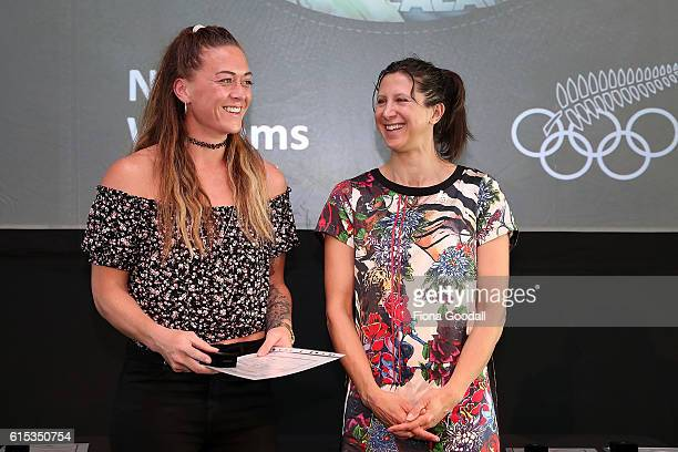 Olympic Rugby Sevens silver medalist Niall Williams receives her pin from Chantal Brunner during the New Zealand Olympic Committee New Olympians Pins...